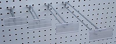 H3 Wire Flip Scan Hook 100mm Chrome + H5 Flip Scan Label Holder 26x75mm (10 per qty)-0